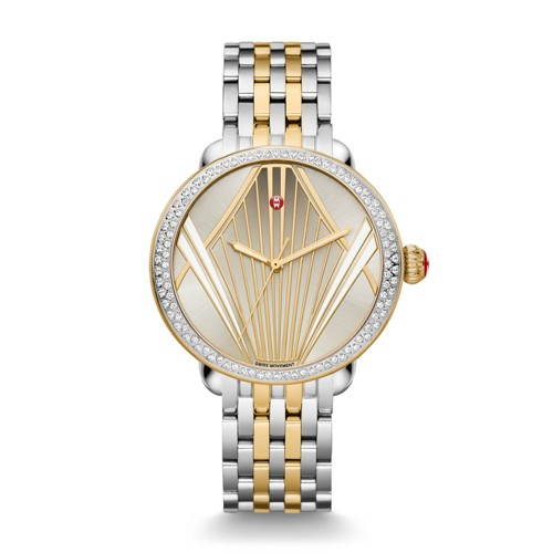 Michele Serein Broadway Diamond Two Tone, Enamel Pattern Dial Serein 7-Link ..