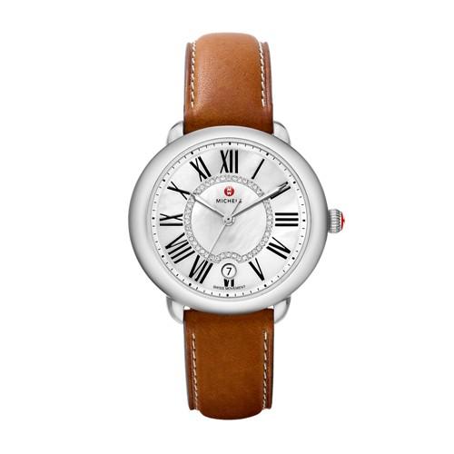Michele Serein Mid, Diamond Dial Saddle Calfskin Watch Mww21b000010 White