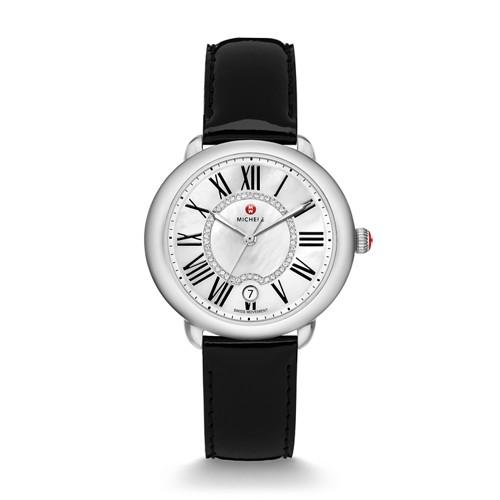 Michele Serein Mid, Diamond Dial Black Patent Watch Mww21b000011 White