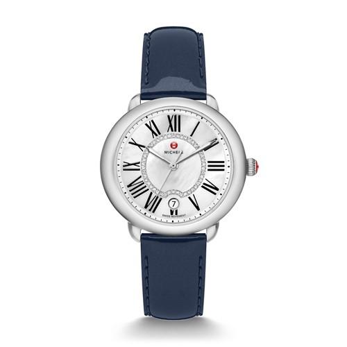Michele Serein Mid, Diamond Dial Navy Patent Watch Mww21b000012 White