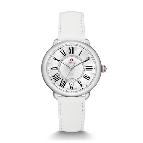 Michele Serein Mid, Diamond Dial White Patent Watch Mww21b000013 White