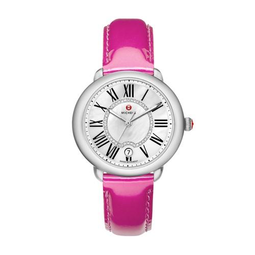 Michele Serein Mid, Diamond Dial Pink Patent Watch Mww21b000014 White