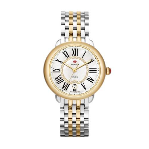 Michele Serein Mid Two-Tone, Diamond Dial Watch Mww21b000015 White