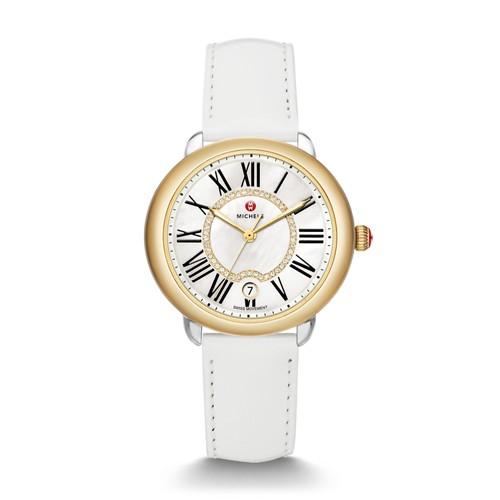 Michele Serein Mid Two-Tone, Diamond Dial White Patent Watch Mww21b000016 White