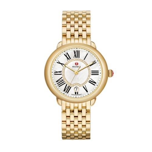 Michele Serein Mid Gold, Diamond Dial Watch Mww21b000017 White