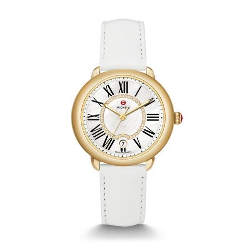 Michele Serein Mid Gold, Diamond Dial White Patent Watch Mww21b000018 White