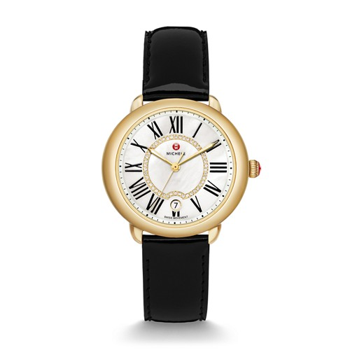 Michele Serein Mid Gold, Diamond Dial Black Patent Watch Mww21b000019 White