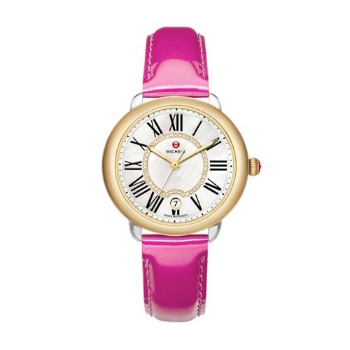 Michele Serein Mid Two-Tone, Diamond Dial Pink Patent Watch Mww21b000021 White