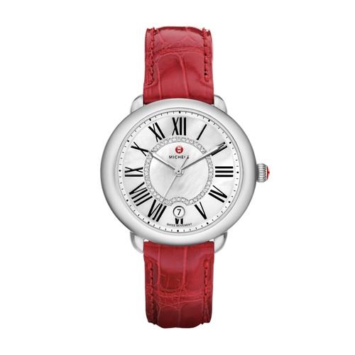 Michele Serein Mid, Diamond Dial Garnet Alligator Strap Watch Mww21b000023 White