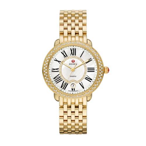 Michele Serein Mid Gold Diamond, Diamond Dial Watch Mww21b000031 Mother-Of-Pearl
