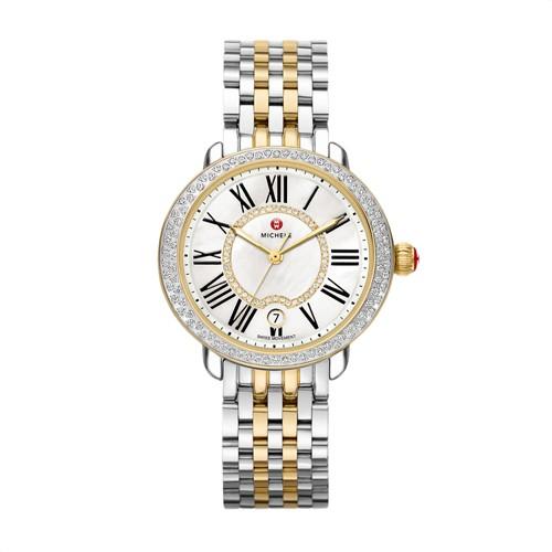 Michele Serein Mid Two-Tone Diamond, Diamond Dial Watch Mww21b000032 Mother-Of-Pearl