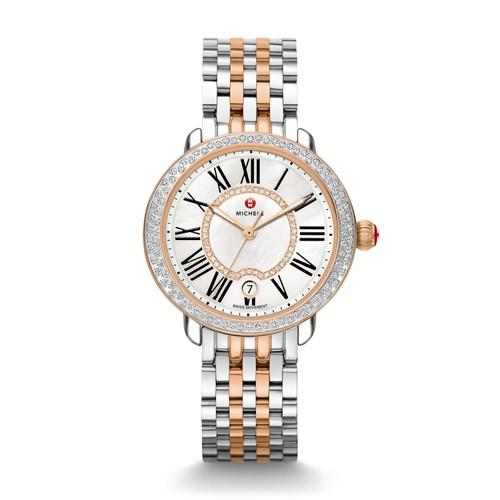 Michele Serein Mid Diamond Two-Tone Rose Gold, Diamond Watch Mww21b000046 Mother-Of-Pearl