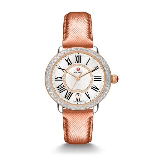 Michele Serein Mid Diamond Two-Tone Rose Gold, Diamond Dial Rose Gold Saffiano Watch Mww21b000047 Mother-Of-Pearl