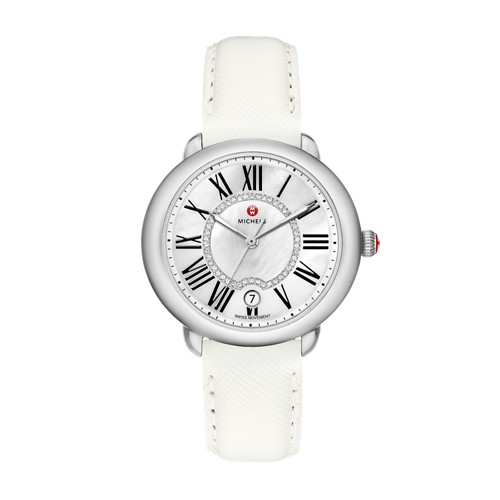 Michele Serein Mid, Diamond Dial Bright White Leather Watch Mww21b000054 Mother-Of-Pearl
