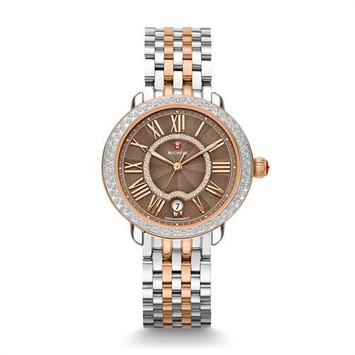 Michele Serein Mid Diamond Two Tone Rose Gold, Cocoa Diamond Dial Watch Mww21b000061 Brown