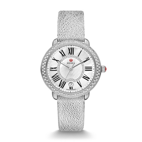 Michele Serein Mid Diamond, Diamond Dial Silver Leather Watch Mww21b000089 Mother-Of-Pearl