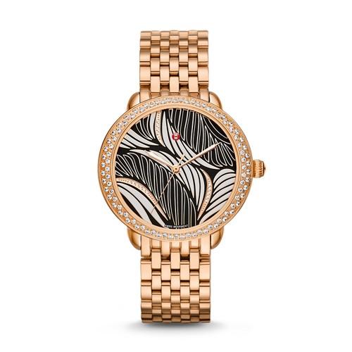 Michele Serein Mid Diamond Rose Gold, Willow Diamond Dial Watch Mww21b000091 Black