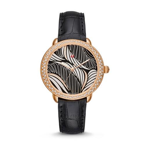 Michele Serein Mid Diamond Rose Gold, Willow Diamond Dial Black Alligator Watch Mww21b000092 Black