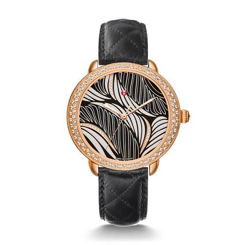 Michele Serein Mid Diamond Rose Gold, Willow Diamond Dial Black Leather Watch Mww21b000093 Black