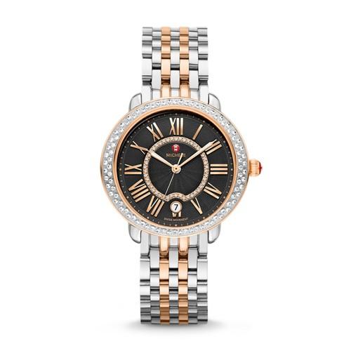 Michele Serein Mid Diamond Two-Tone Rose Gold, Black Diamond Dial Watch Mww21b000094 Black
