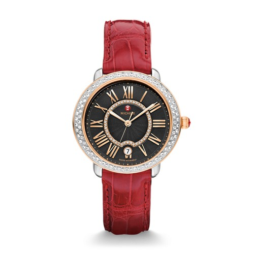 Michele Serein Mid Diamond Two-Tone Rose Gold, Black Diamond Dial Garnet Alligator Watch Mww21b000095 Black