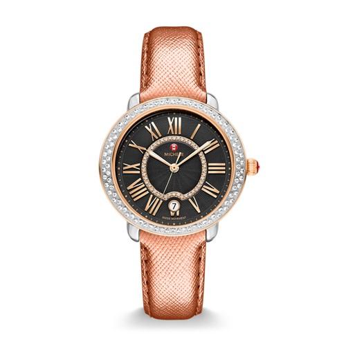 Michele Serein Mid Diamond Two-Tone Rose Gold, Black Diamond Dial Rose Saffiano Watch Mww21b000096 Black