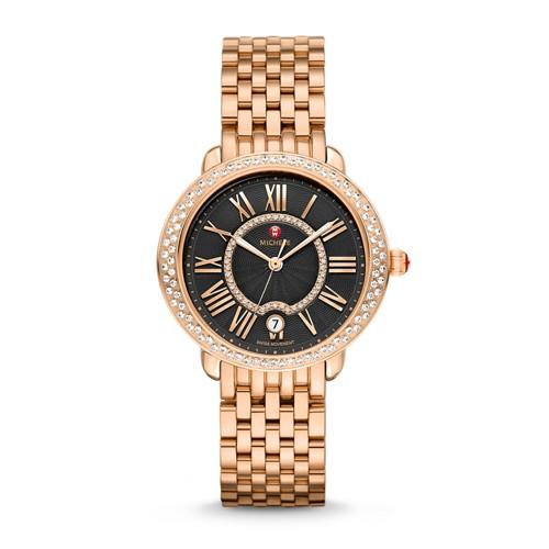Michele Serein Mid Diamond Rose Gold, Black Diamond Dial Watch Mww21b000097 Black