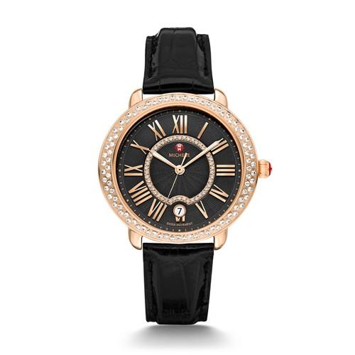 Michele Serein Mid Diamond Rose Gold, Black Diamond Dial Black Alligator Watch Mww21b000098 Black