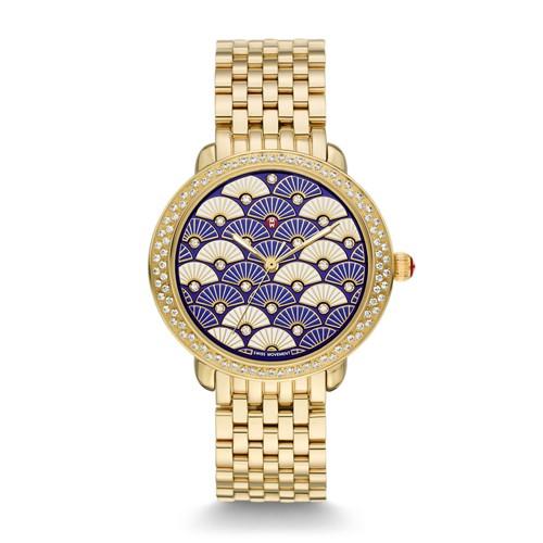 Michele Serein 16 Diamond Gold, Blue Fan Diamond Dial Watch Mww21b000102 Blue