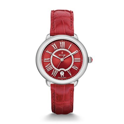 Michele Serein Mid, Red Diamond Dial Garnet Alligator Watch Mww21b000107 Red