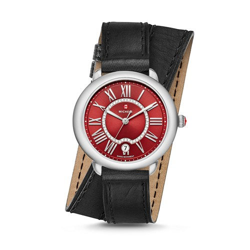 Michele Serein Mid, Red Diamond Dial Black Double Wrap Watch Mww21b000108 Red