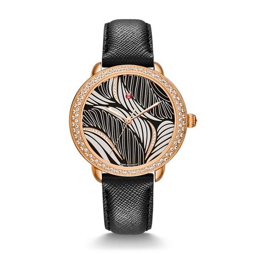 Michele Serein Mid Diamond Rose Gold, Willow Diamond Dial Black Saffiano Watch Mww21b000110 Black