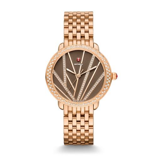 Michele Serein Mid City Lights Diamond Rose Gold, Diamond Dial Watch Mww21b000113 Brown