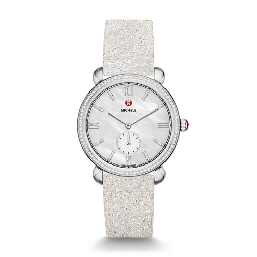Michele Gracile Diamond, Diamond Dial White Crystal Watch Mww26a000002 Mother-Of-Pearl