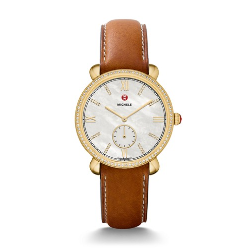 Michele Gracile Diamond Gold, Diamond Dial Saddle Leather Watch Mww26a000010 Mother-Of-Pearl