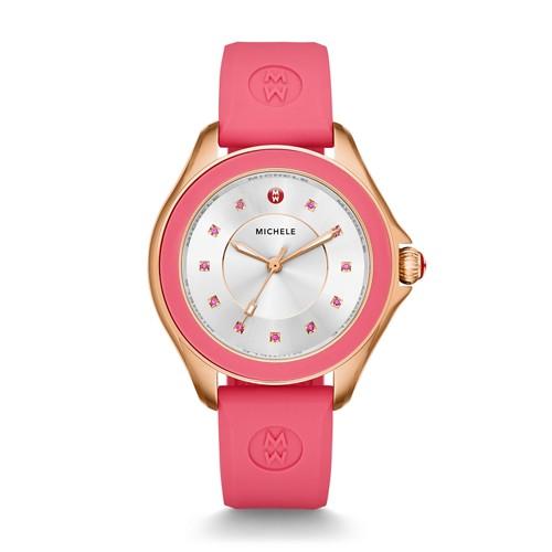 Michele Cape Topaz Rose Gold Tone Coral Watch Mww27a000008 Silver