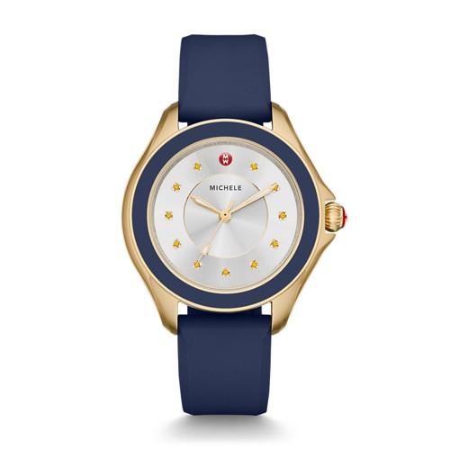 Michele Cape Topaz Gold Tone, Navy Watch Mww27a000013 Silver