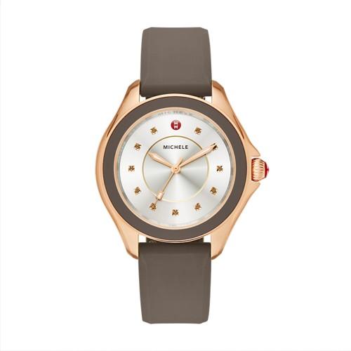 Michele Cape Smoky Quartz Rose Gold Tone Cocoa Watch Mww27a000014 Silver