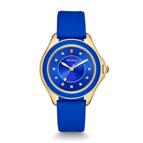 Michele Cape Topaz Cobalt Gold Watch Mww27a000026 Blue