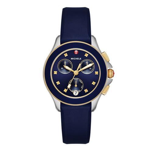 Michele Cape Chrono Navy Two Tone Watch Mww27c000005 Blue