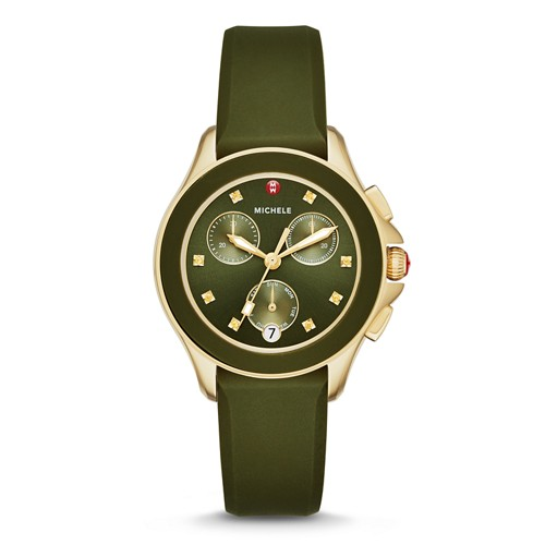 Michele Cape Chrono Green, Gold Tone Watch Mww27c000006 Green