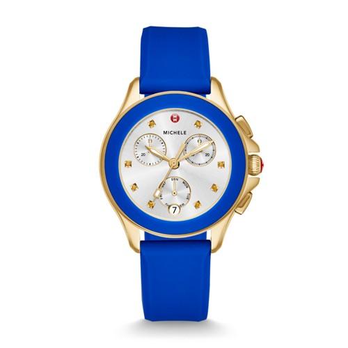 Michele Cape Chrono Gold Cobalt Watch Mww27c000013 Silver