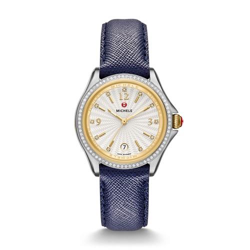 Michele Belmore Diamond, Two-Tone Diamond Dial Navy Leather Watch Mww29a000003 White