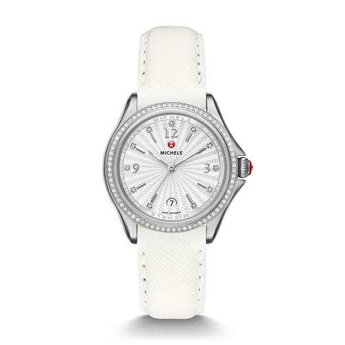 Michele Belmore Diamond, Diamond Dial White Leather Watch Mww29a000006 White