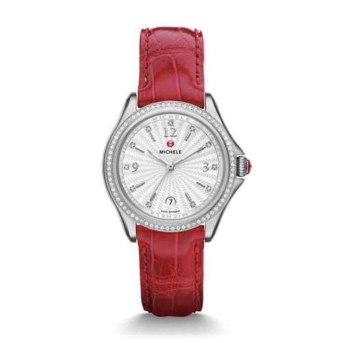 Michele Belmore Diamond, Diamond Dial Garnet Alligator Watch Mww29a000007 White