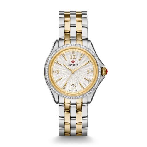 Michele Belmore Diamond, Two-Tone Diamond Dial Watch Mww29a000009 White