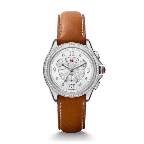 Michele Belmore Chrono Diamond, Diamond Dial Saddle Calfskin Watch Mww29b000002 Silver