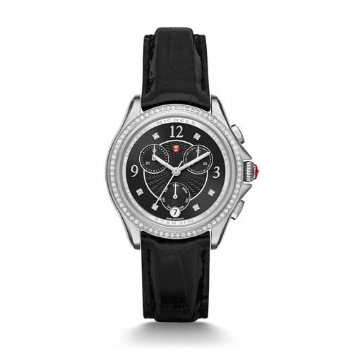 Michele Belmore Chrono Diamond, Black Diamond Dial Black Alligator Watch Mww29b000005 Black