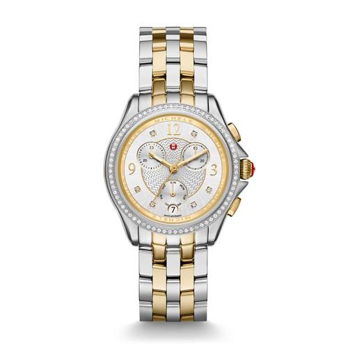 Michele Belmore Chrono Diamond Two-Tone, Diamond Dial Watch Mww29b000006 Silver