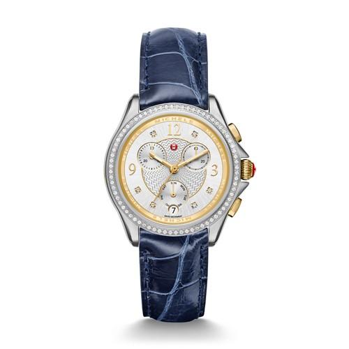 Michele Belmore Chrono Diamond Two-Tone, Diamond Dial Navy Alligator Watch Mww29b000007 Silver